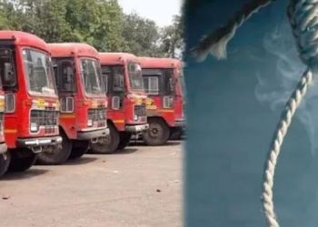 St bus driver suicide in bus in sangamner of nagar district