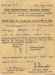 War Department Driving Permit