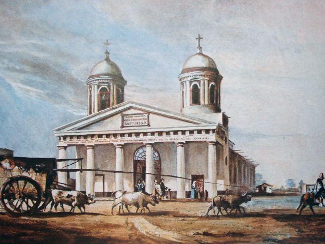 Acuarela del segundo templo realizada por  Charles Henri Pellegrini  en 1840