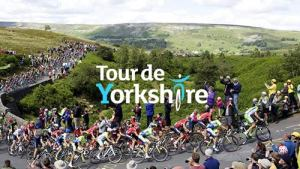 """POP-UP GUIDED WALK TO THE TOUR DE YORKSHIRE FINALE AT THE COW AND CALF ROCKS."""" A Baildon Walkers are Welcome guided walk @ Meet at Baildon Potted Meat Stick by Ian Clough car park in centre of Baildon,"""
