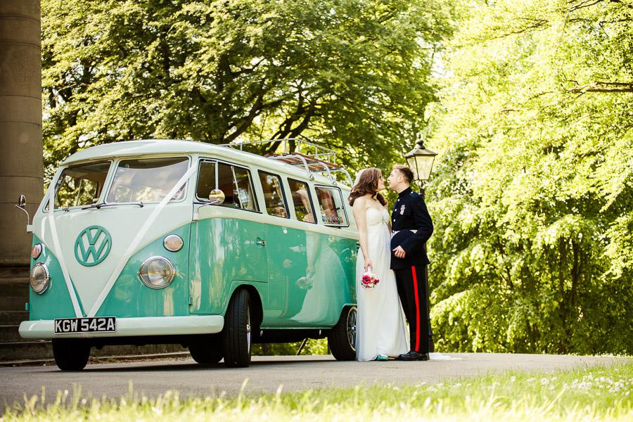 Bride and Groom with camper van