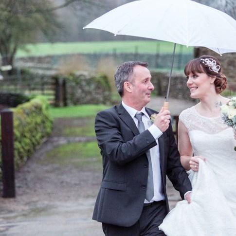 Yorkshire dales wet wedding day Bolton Abbey estate