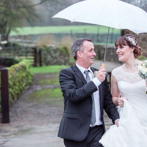 Yorkshire dales wet wedding day Bolton Abbey estate
