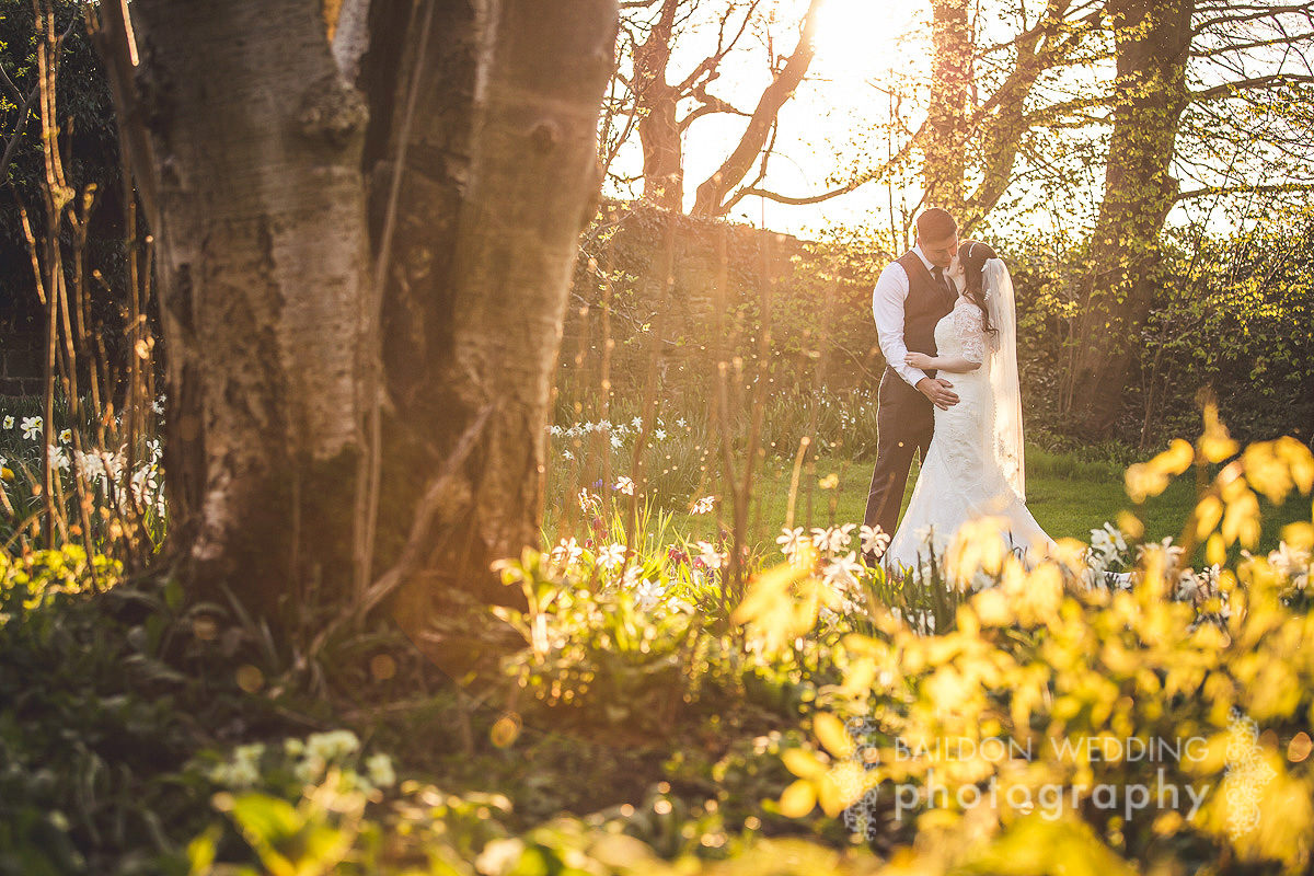 Spring sunshine in the gardens of East Riddlesden Hall weddings