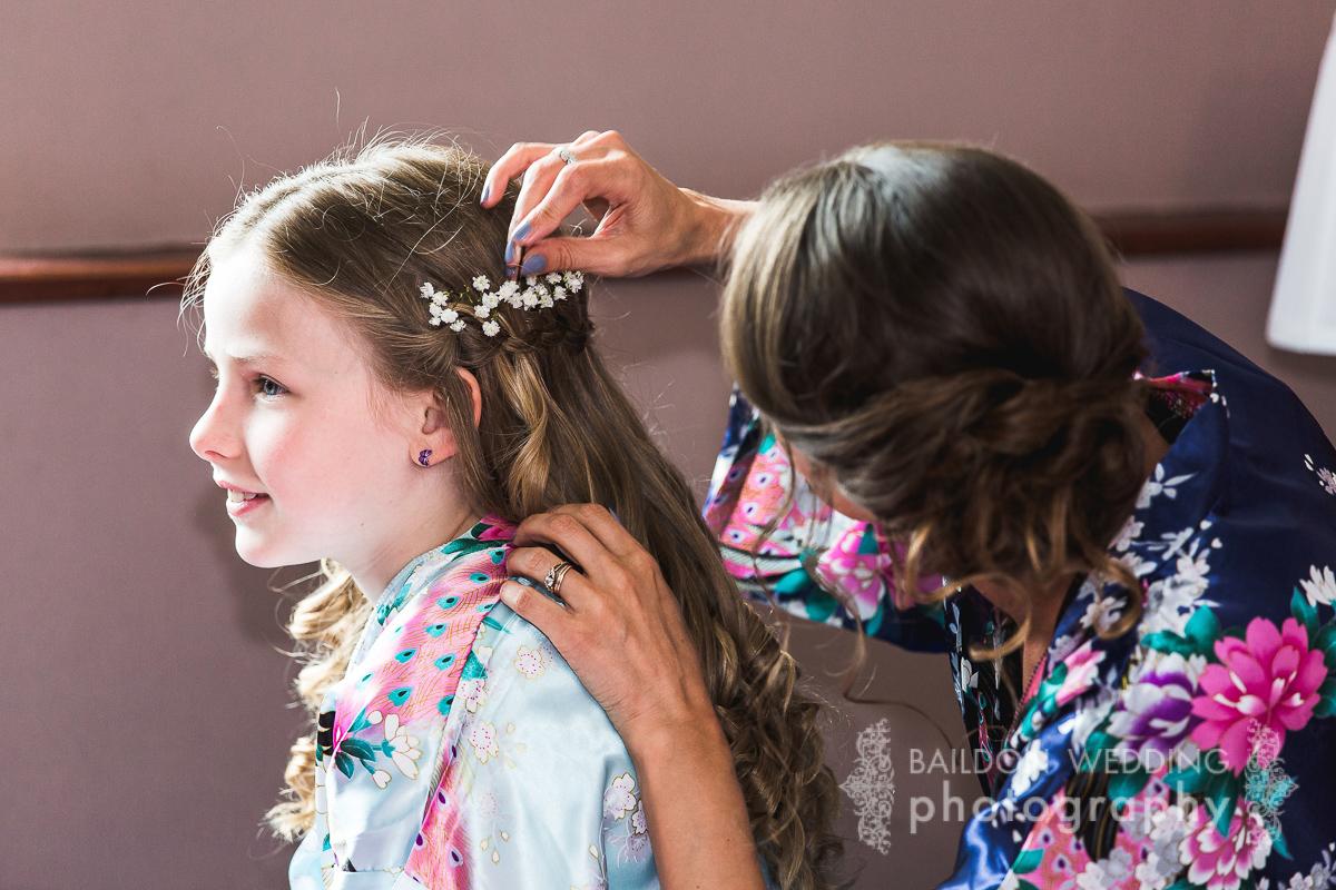 flowers in girls hair