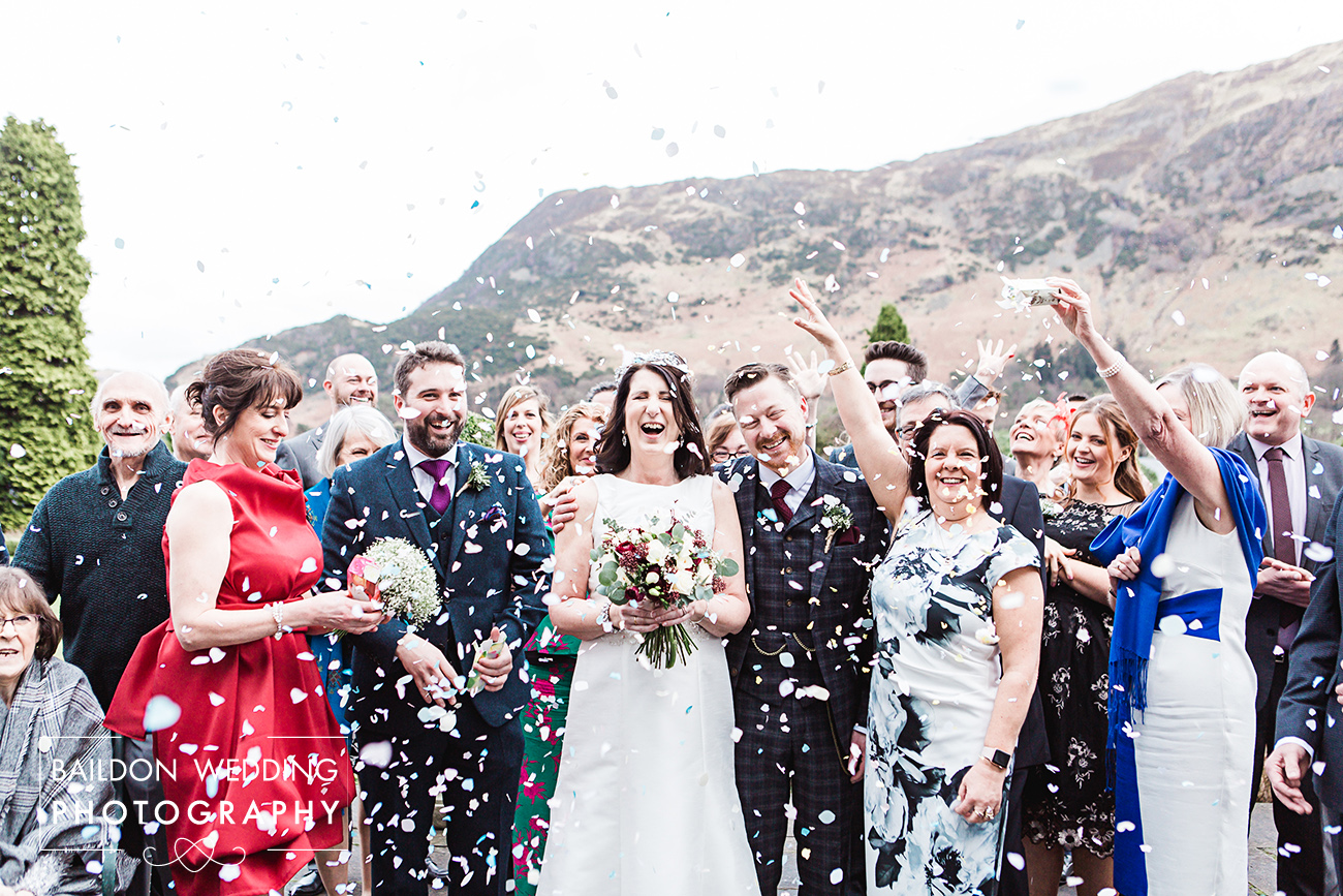 Inn on the Lake wedding confetti shot