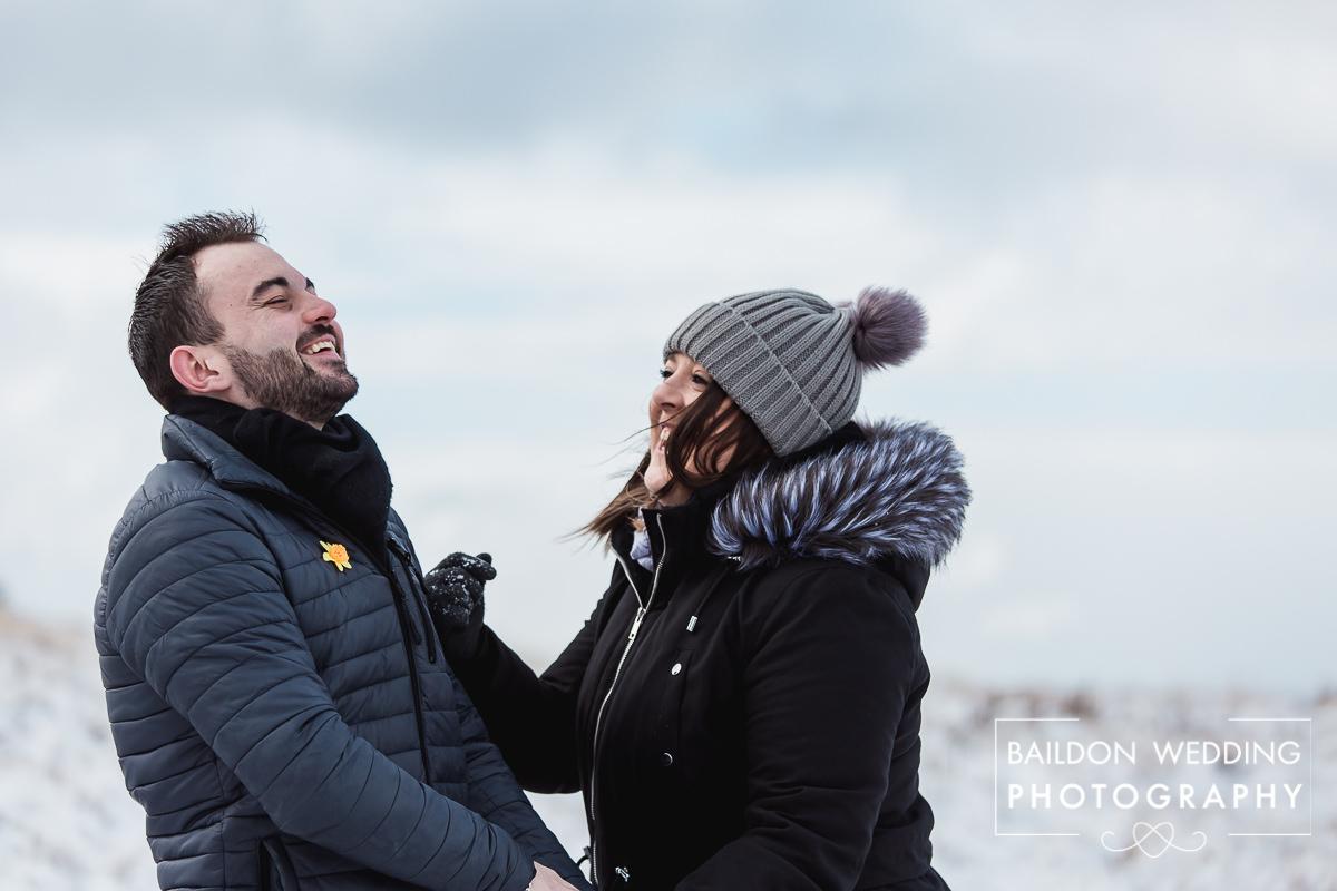 Laughing couple love Yorkshire Moors Baildon