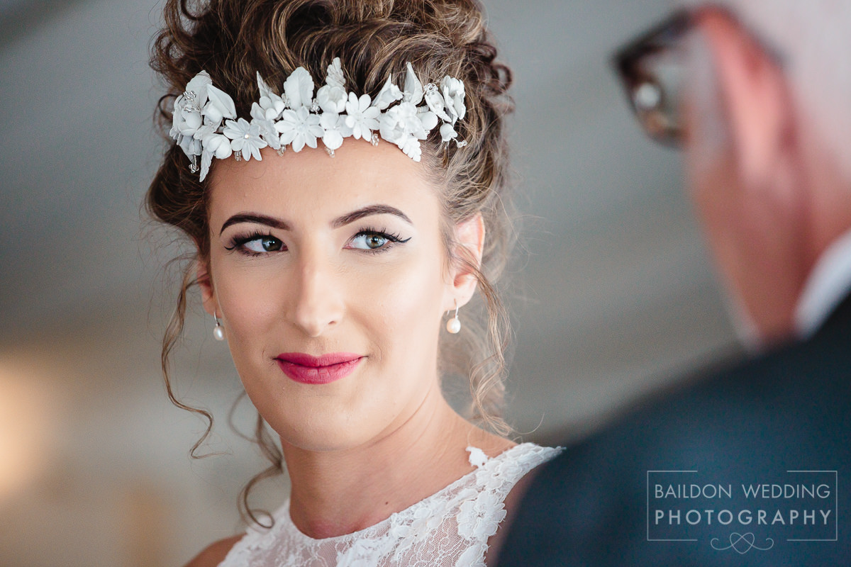 Close up of bride during wedding ceremony