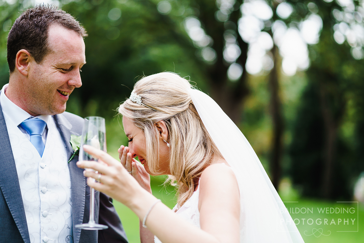 Birds laughs at grooms jokes, Hollins Hall wedding