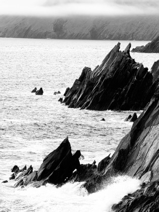 Black and white Image of west Kerry rocks and sea