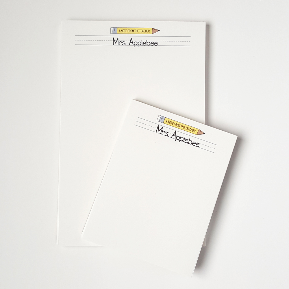 teacher notepad personalized stationery