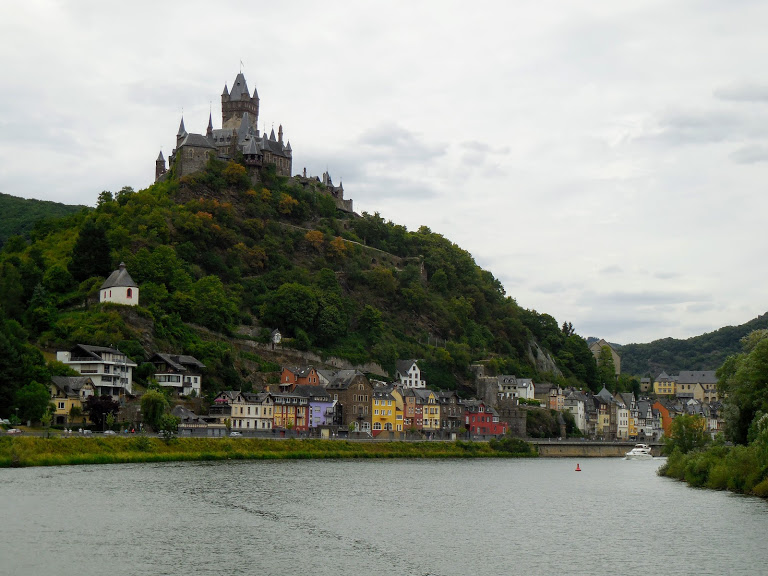 view of Cochem main street and Reichsburg Cochem from the Mosel River