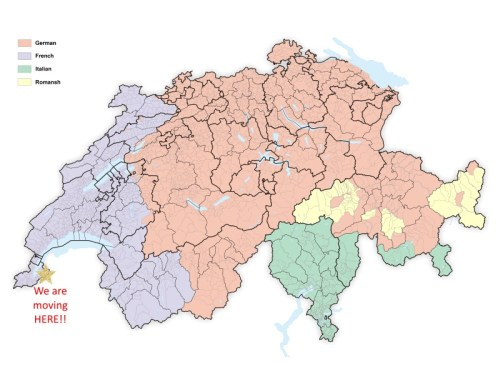 Map Showing of Distribution of Languages in Switzerland