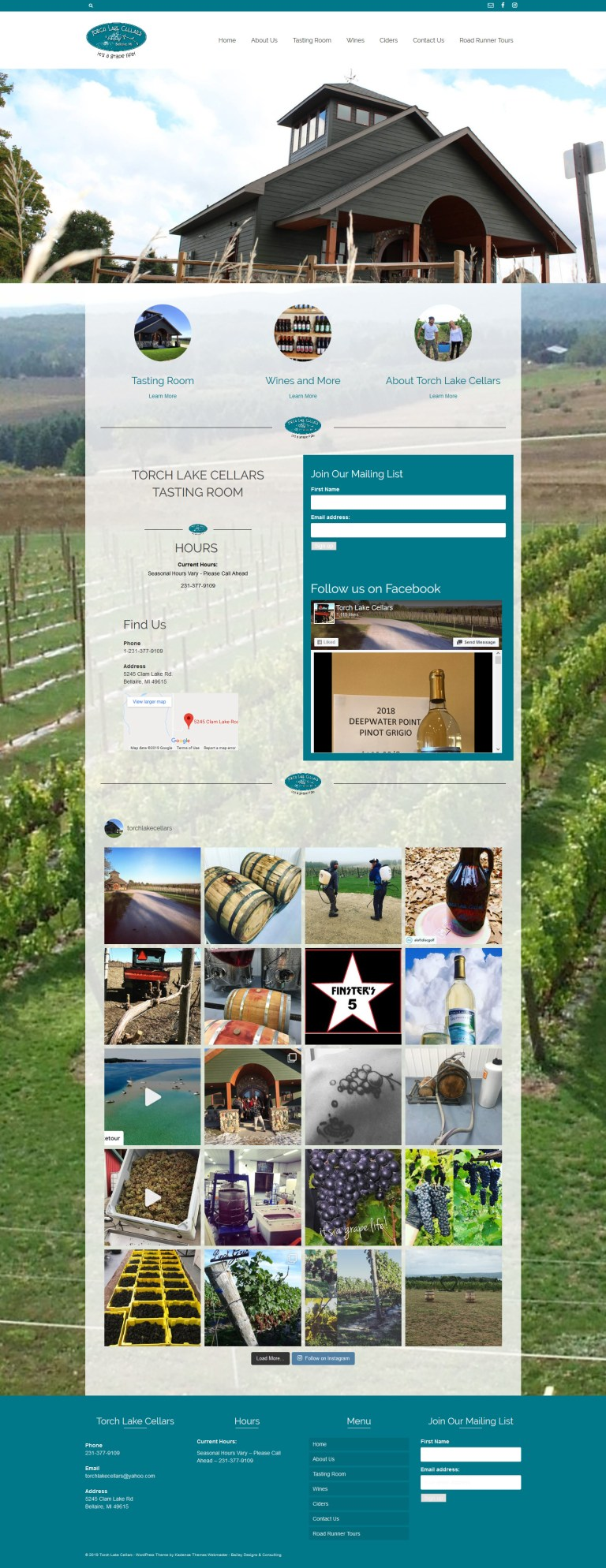 Torch Lake Cellars – website design