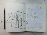Overlaid continuous line drawings, and a viewfinder.