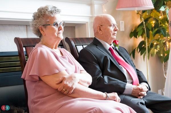 Family watching wedding ceremony