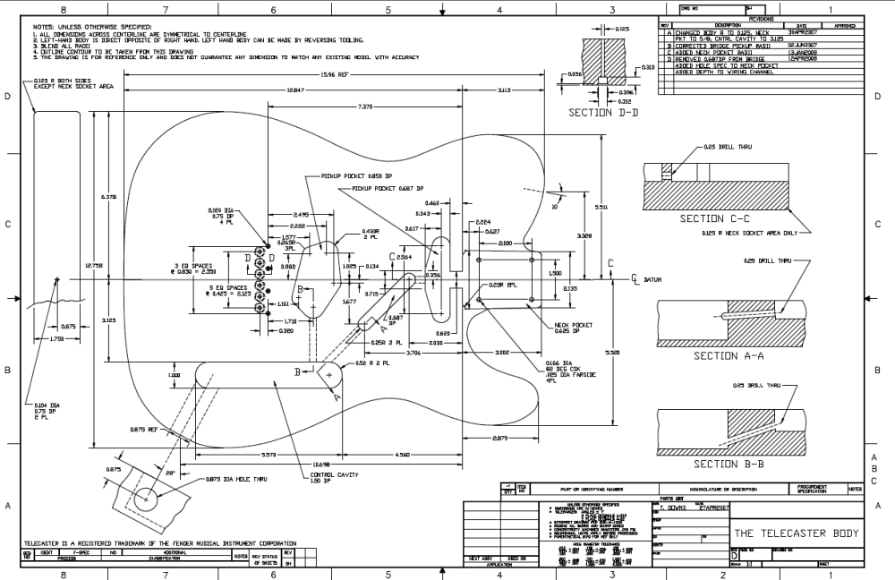 medium resolution of  a proven design a version of a fender telecaster thinline semi hollow guitar there are lots of specific details as you can see in the plan below