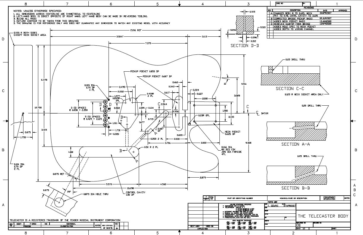 hight resolution of  a proven design a version of a fender telecaster thinline semi hollow guitar there are lots of specific details as you can see in the plan below