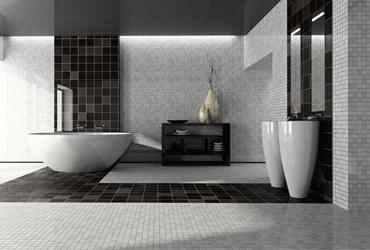 le noir et blanc dans la salle de bain