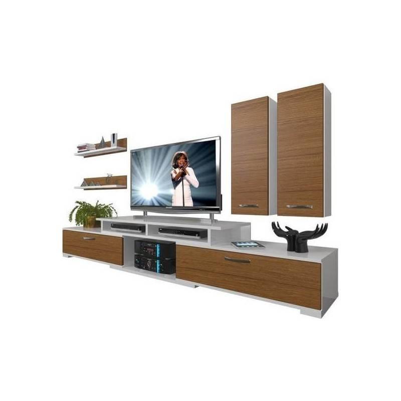 meuble tv chene et blanc 2 colonnes