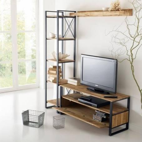 meuble tv 150 50 30 cm chene et acier