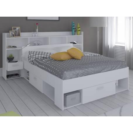 lit avec rangement blanc une place et demi