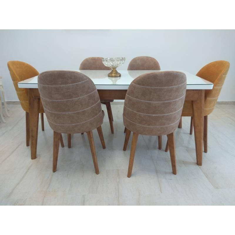 table pour salle a manger avec six chaises en bois massif rouge blenz blanc