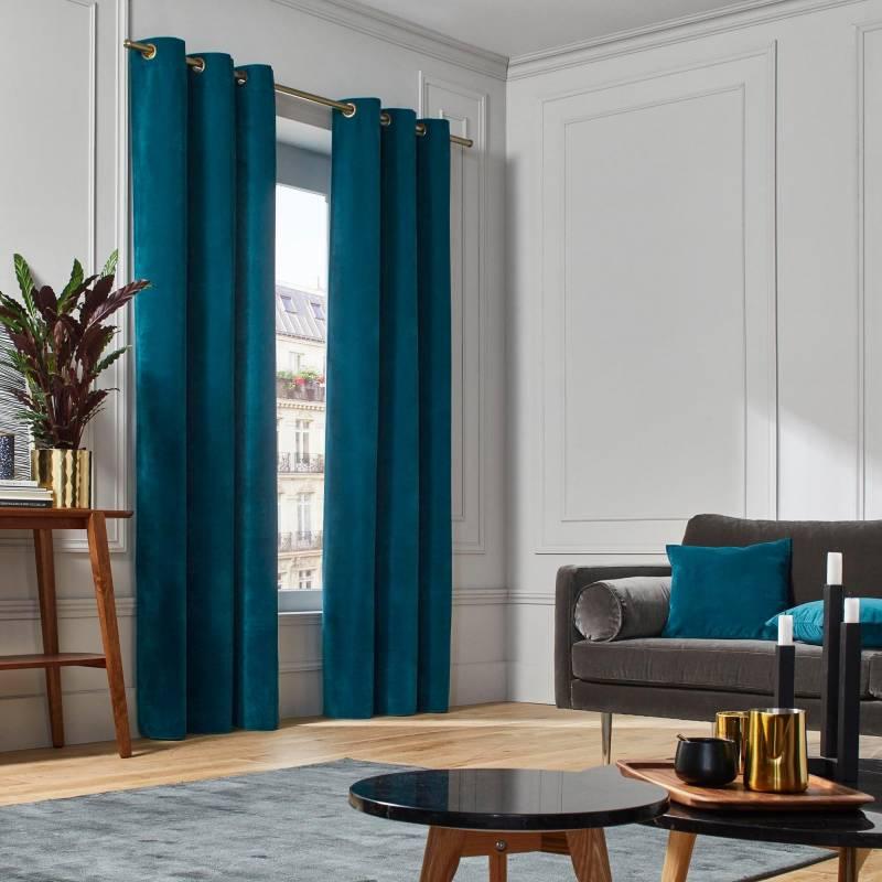 rideaux velours bleu vert