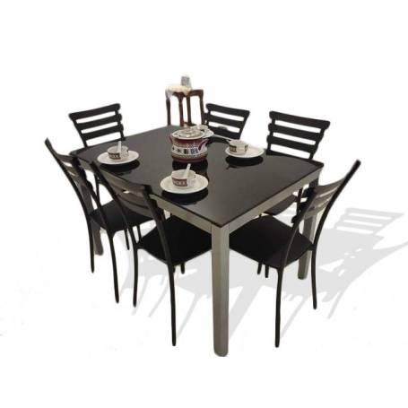table cuisine luxy avec 6 chaises 120cm 80cm gris fonce