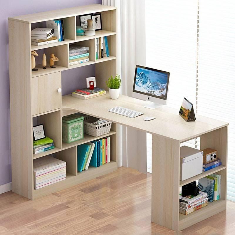 bureau d angle avec bibliotheque chene clair