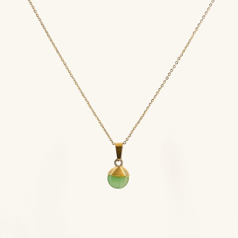 Gold plated Lola necklace with Aventurine pendant waterproof jewelry