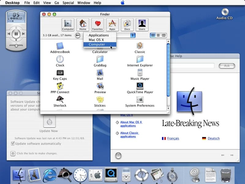 Interface  do Mac OS 9.