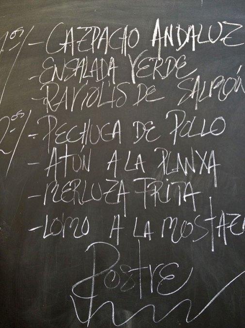 Speisekarte in Palma