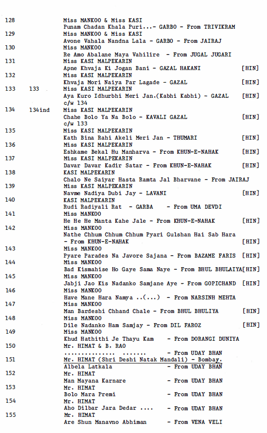 Ram-a-Phone Disc Record, Discography Listing