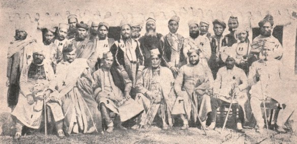 Gathering of musicians, Music Conference Nepal c. early 1900's, Rahimat Khan. front row – far right