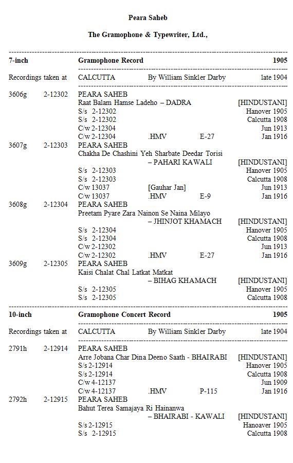 Peara Saheb Discography, Page 3