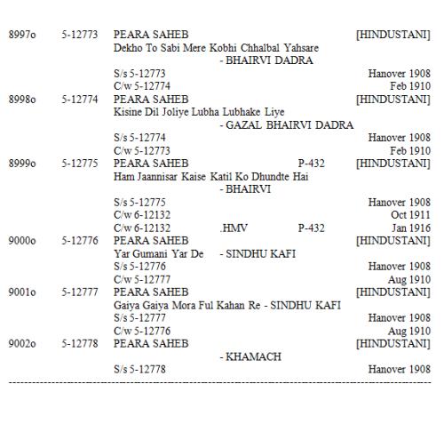 Peara Saheb Discography, Page 12