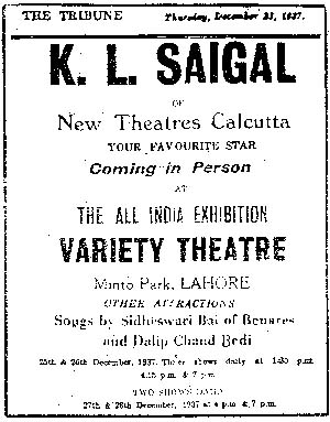 Advertisement for K.L. Saigal, The Tribune, 1937