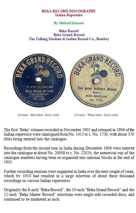 Beka Record, Beka Grand Record Discography