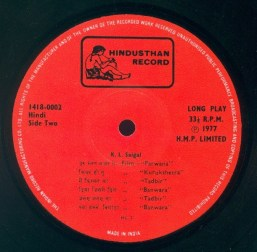 K.L. Saigal, Hindusthan Record, LP 141809992, Side Two