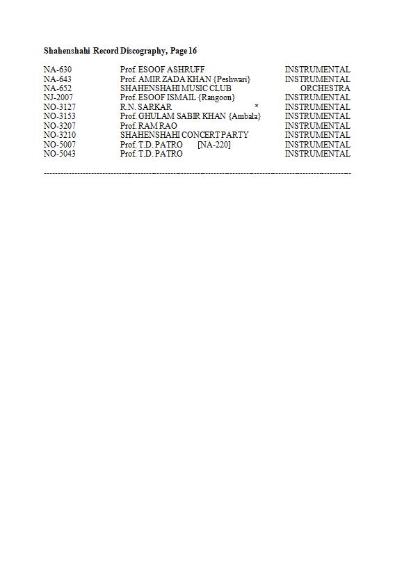Shahenshahi Record Discography, Page 16