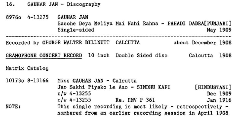 Gauhar Jan Discography, Page 16. by Michael Kinnear