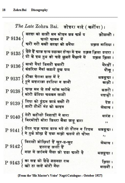 Zohra Bai Discography, Page 18