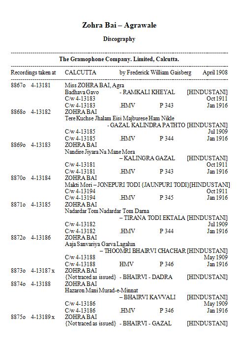 Zohra Bai Discography, Page 1