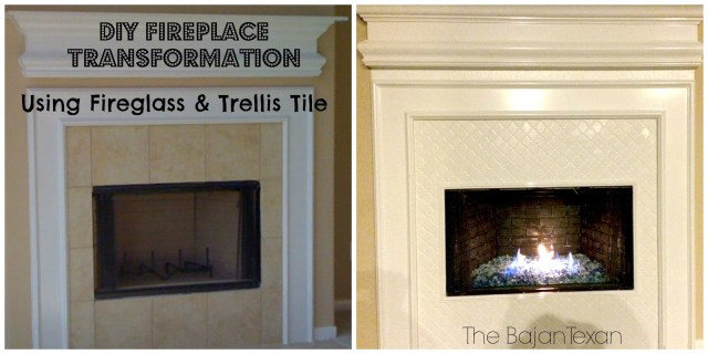 Amazing Fire Glass Fireplace Makeover - It may look difficult but this DIY fireplace makeover is actually so manageable and fun to work on!
