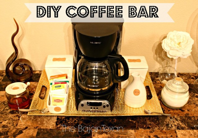 DIY Coffee Bar - Keep the coffee maker and the coffee easily accessible to yourself and to your guests with this DIY coffee bar!
