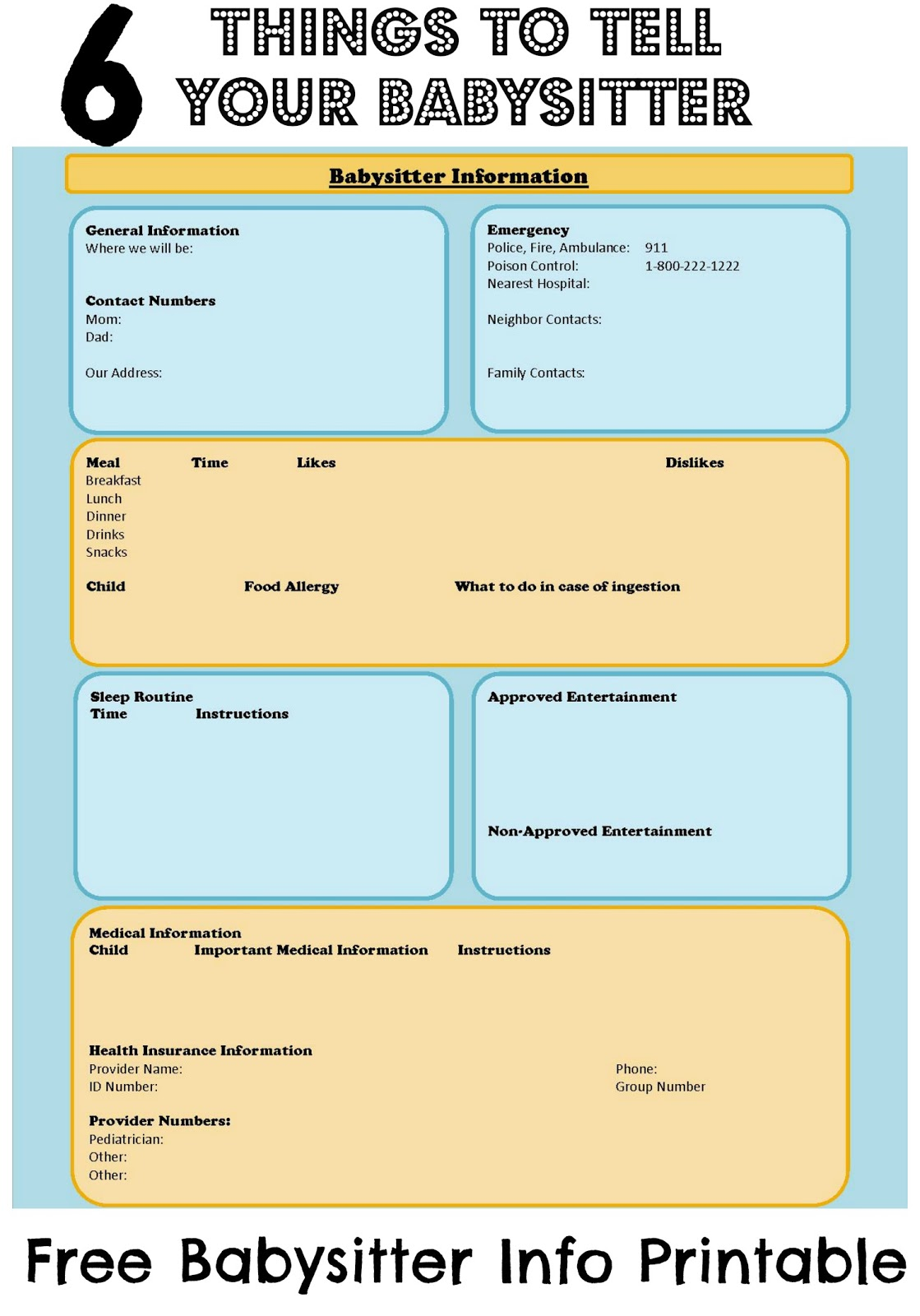 Babysitter Information Sheet with Free Printable – The Bajan Texan