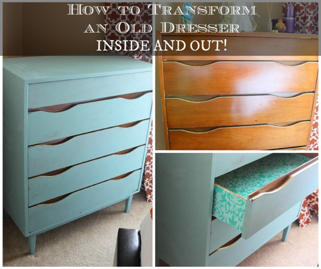 Transform Old Dresser Inside and Out - Turn your old dresser to a gorgeous piece of furniture using some paint and gift wrap paper!