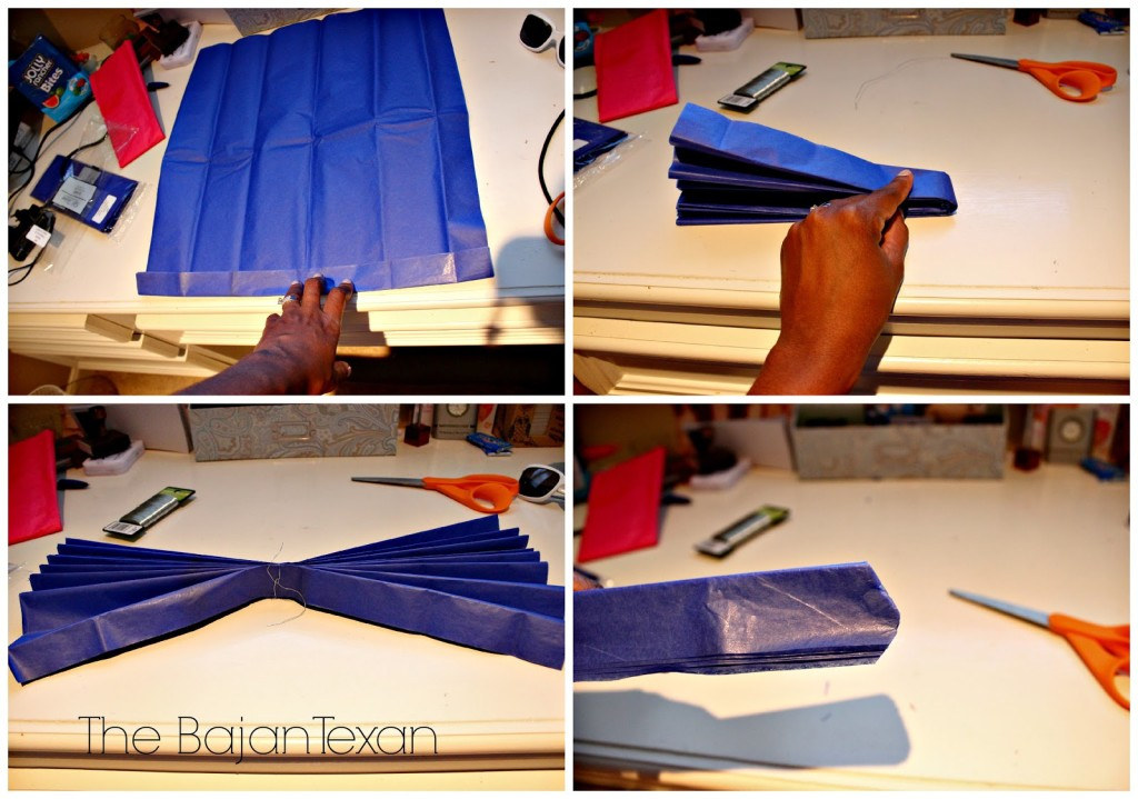 Diy tissue paper flower party decor video tutorial the bajan texan the first step is to fold the tissue paper accordion style if your paper is a rectangle fold on the shorter side fold the accordion in half and tie floral mightylinksfo