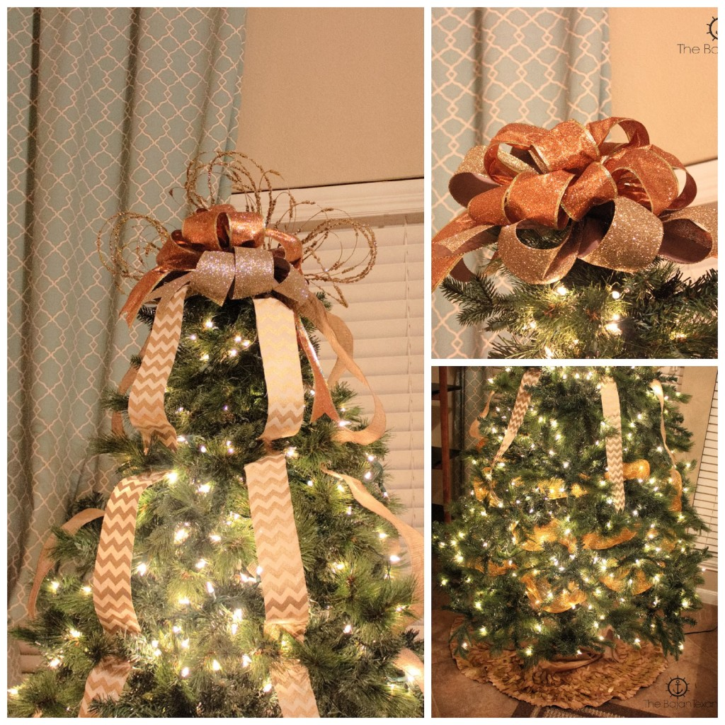 ... Bow With Burlap And Gold Streamers, So In The Video I Show You Exactly  How To Make A Bow Topper And How To Make The Streamers Cascading Down The  Tree.